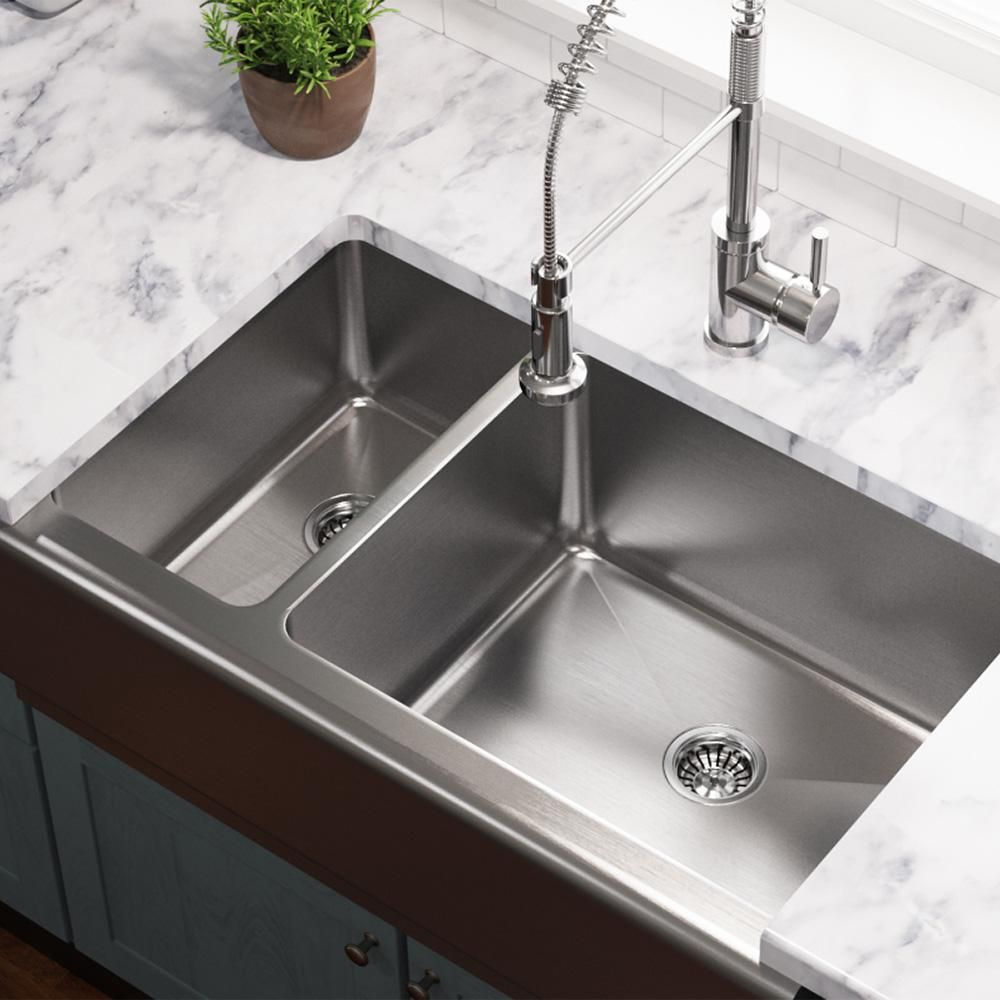 Pin By Tc Seher Bukulmez Cakar On Mutfaklar In 2020 Stainless Farmhouse Sink Double Bowl Kitchen Sink Apron Sink Kitchen