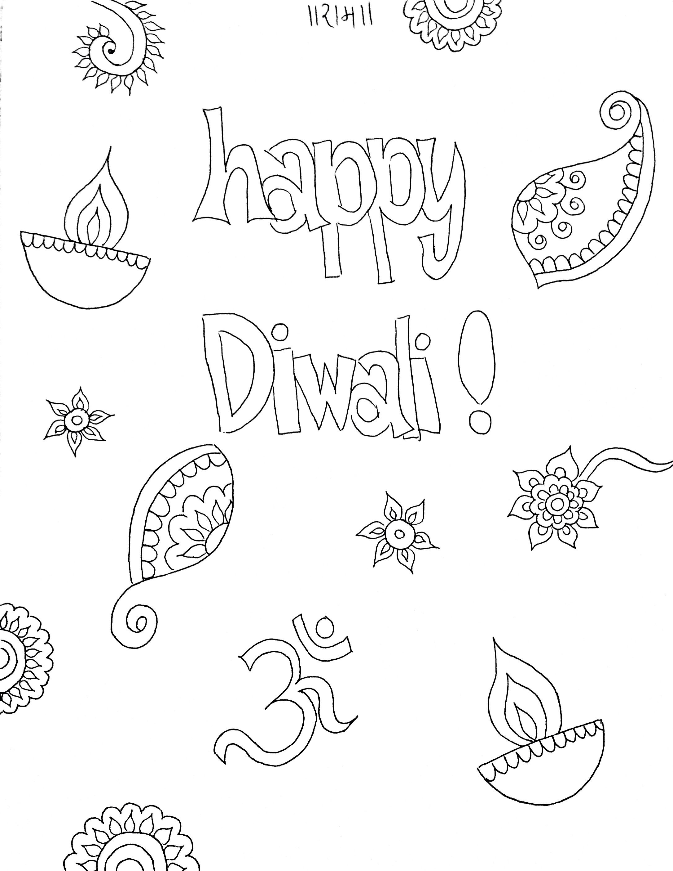 Diwali Coloring Sheet For Kids Diwali Drawing Drawing For Kids