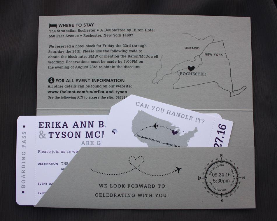 Dark Purple  Gray USA Map, Airplane  Dots Airline Ticket Wedding