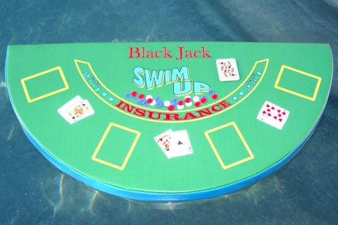Floating Black Jack Table Includes Chips And Waterproof Playing Cards.