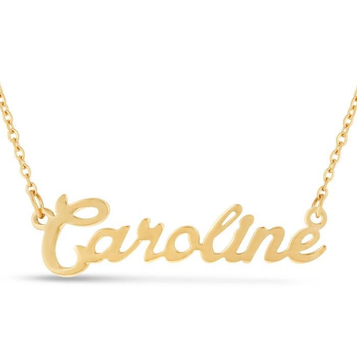 necklaces name necklace plate chains htm gold s solid nameplate script