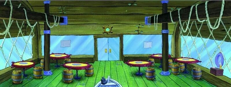 Overview Of Interior Krusty Krab Looking From Back Wall