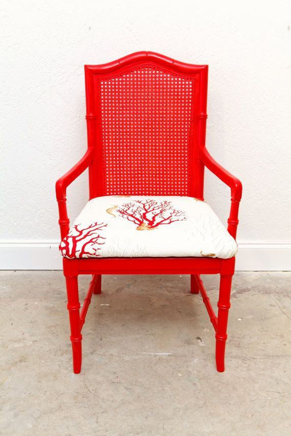 Coral Painted Cane Back Dining Chair This Is Super Cool
