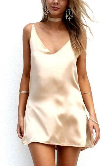 7b26219aee80 ... Women Sexy Satin Choker Dress. Sleeveless V-neck Cut V Shape Back Mini  Dress - US$17.95 -YOINS