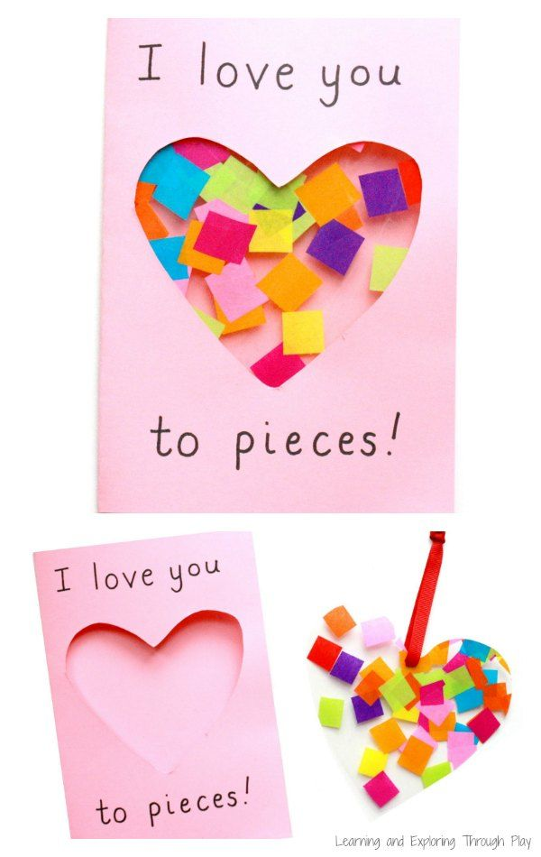 Love you to pieces suncatcher card craft cards and school for Mothers day cards from preschoolers