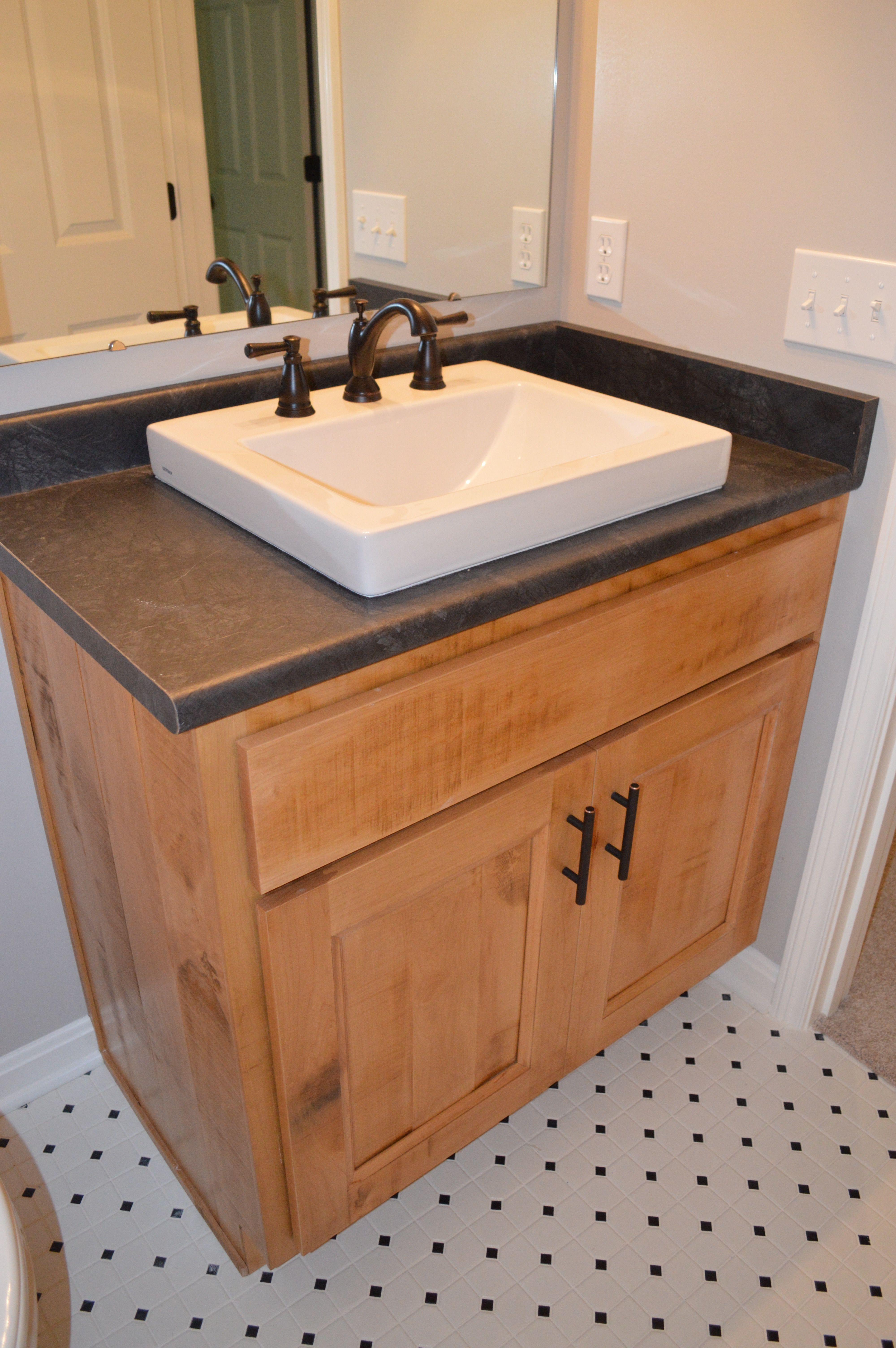 Cutest Vanity Ever Stained Barn Wood Finish Polkadot Ceramic Tile