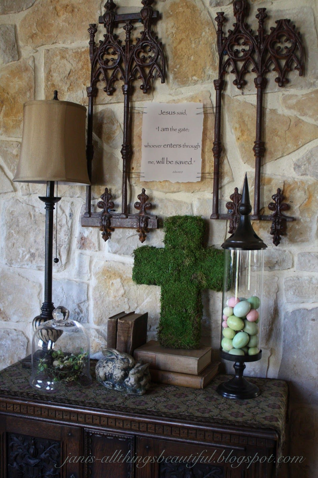 Christian easter decor - All Things Beautiful Moss Cross Diy Spring Entryway Decor Christian Eastereaster