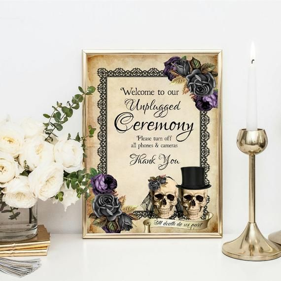 No Ceremony Just Reception: Skull Wedding Unplugged Ceremony Sign, No Phones Sign