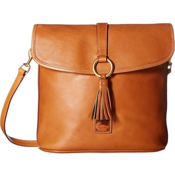 Dooney & Bourke Florentine Classic Large Dottie Crossbody (Natural w/... ($288) ❤ liked on Polyvore featuring bags, handbags, shoulder bags, leather crossbody, red leather shoulder bag, crossbody handbags, leather fringe purse and man leather shoulder bag
