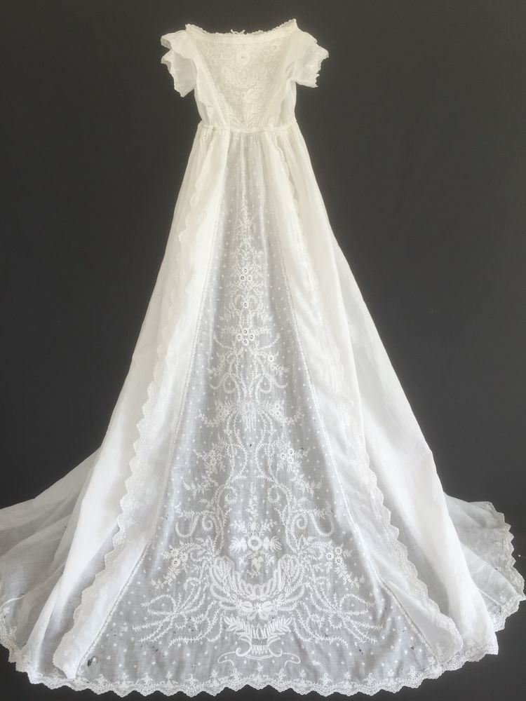 EARLY VICTORIAN FINE LAWN GOWN - EXQUISITE AYSHIRE LACE - TOO PRECIOUS TO BIN!
