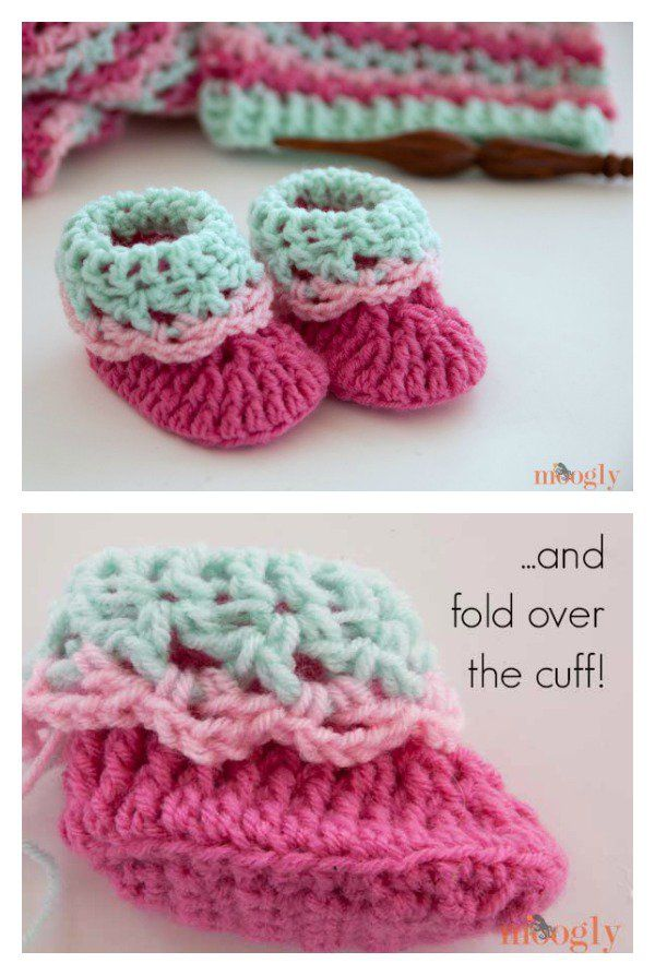 Pink Lady Baby Booties Free Crochet Patterns | Häkeln | Pinterest ...