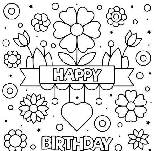 Free Printable Birthday Cards For Grandma To Color Happy Birthday Coloring Pages Free Printable Birthday Cards Birthday Coloring Pages