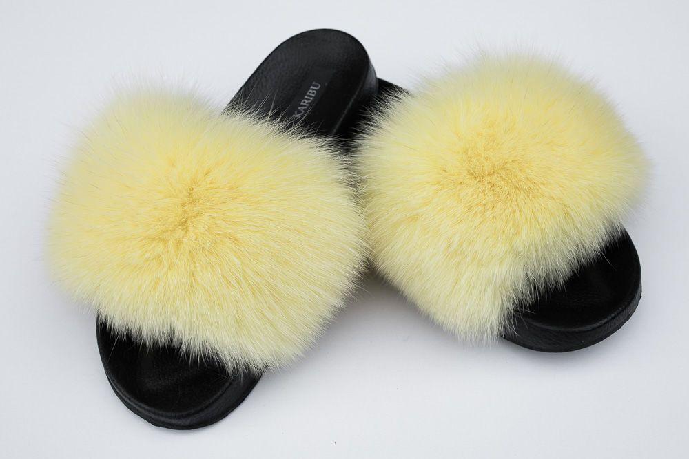 Klapki Damskie Z Naturalnym Futrem Z Lisa W Kolorze Zoltym Kod Produktu Kdkf 100 Cena Sklep Internetowy Karibu Fur Slides Shoes