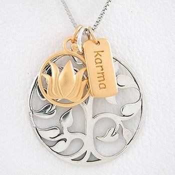 Amazoncom Tree Of Life Lotus Flower Karma Charm Necklace In