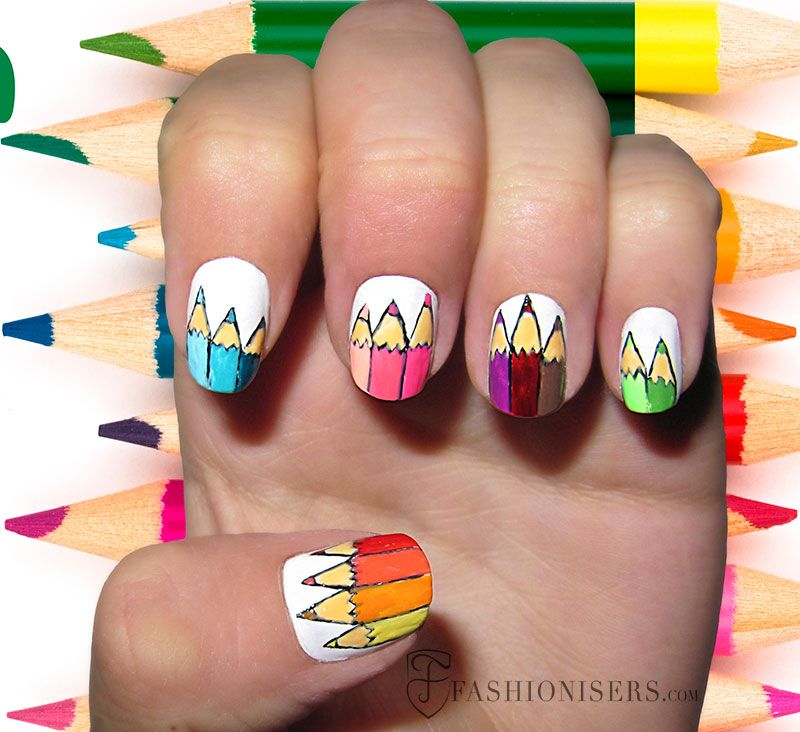 12 Cute Back To School Nail Art Designs | School nail art, School ...