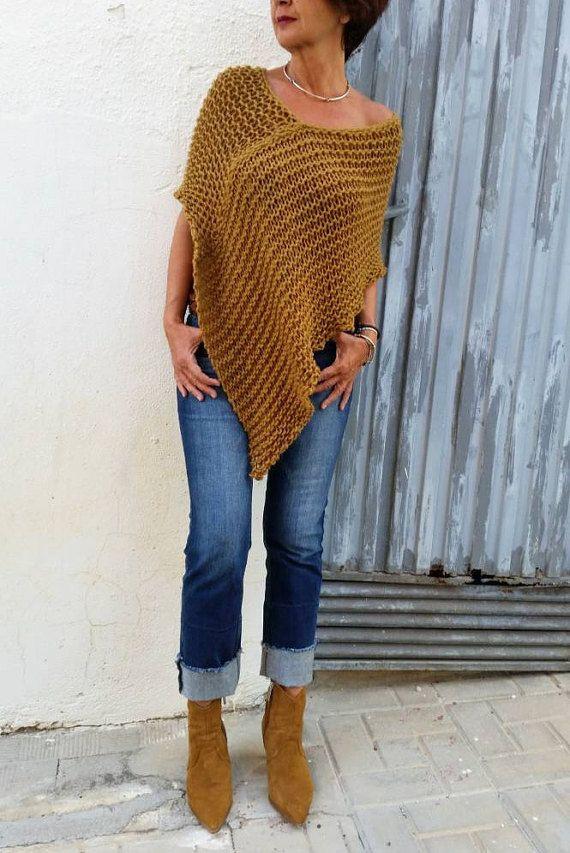 Items similar to Mustard knit poncho, alpaca  poncho sweater, hand knit wrap, fall knitwear, wool poncho, winter woman clothing, woman wrap on Etsy