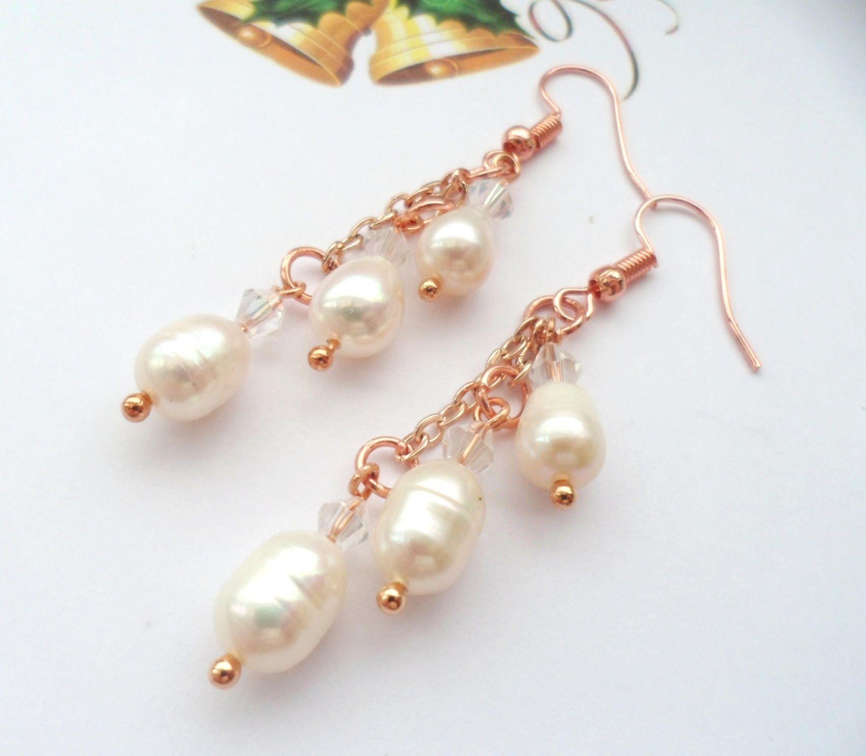 Freshwater pearl chandelier earrings pearl jewellery rose gold freshwater pearl chandelier earrings pearl jewellery rose gold jewellery gift for her aloadofball Images