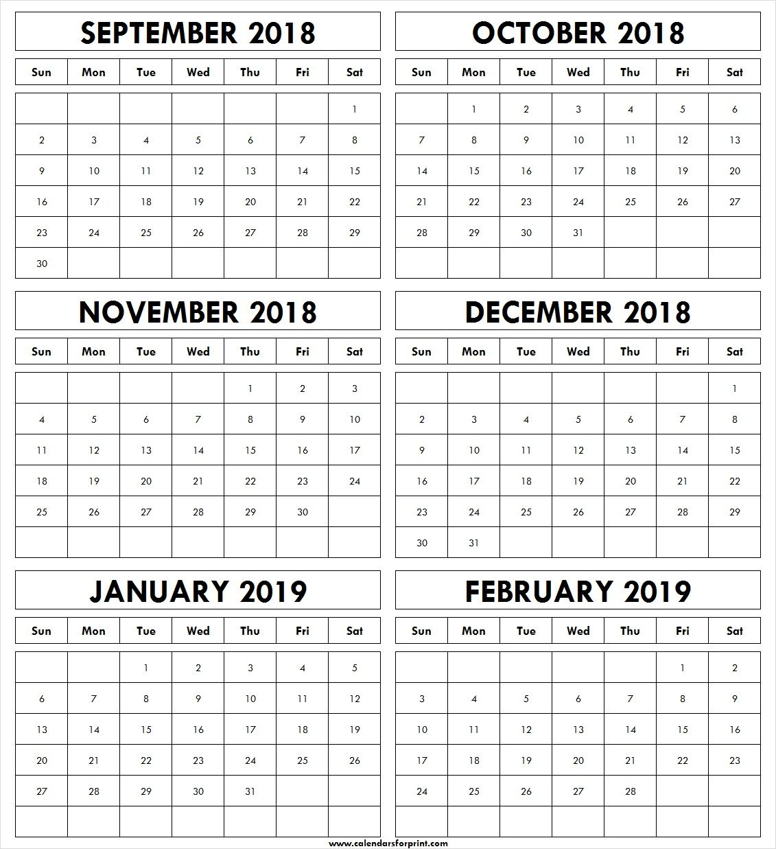 December 2019 To January 2019 Calendar Printable September October November December 2018 January February 2019