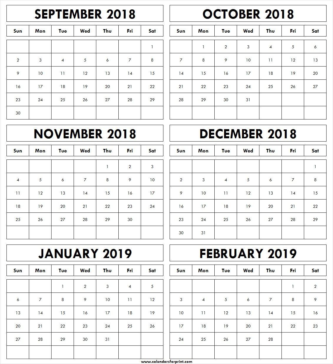 Free Printable 2019 Four Months Blank September,October,Novevember, December Calendar With Holidays September October November December 2018 January February 2019
