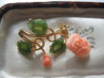 #Coral jade #flower #brooch,  View more on the LINK: http://www.zeppy.io/product/gb/2/361697279269/