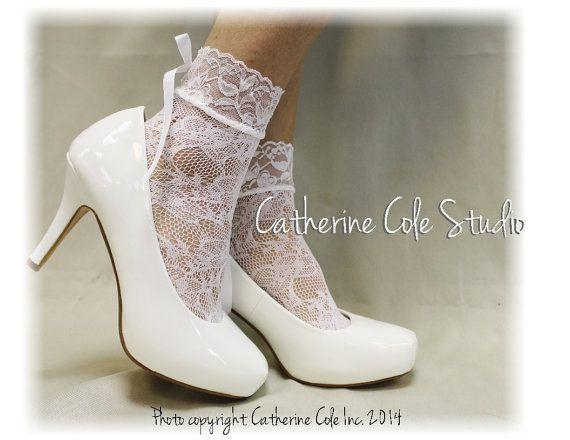 COSMOPOLITAN White Lace socks lacey socks by CatherineColeStudio-#weddingshoes #peepsocks #lacesocksforheels #bridallace #laceslipper #laceysocks #bridalshoes #weddingdress #weddinglace