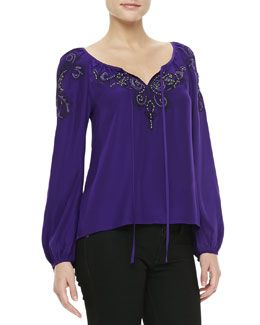 T791U Nanette Lepore Embroidered Tie-Front Silk Top