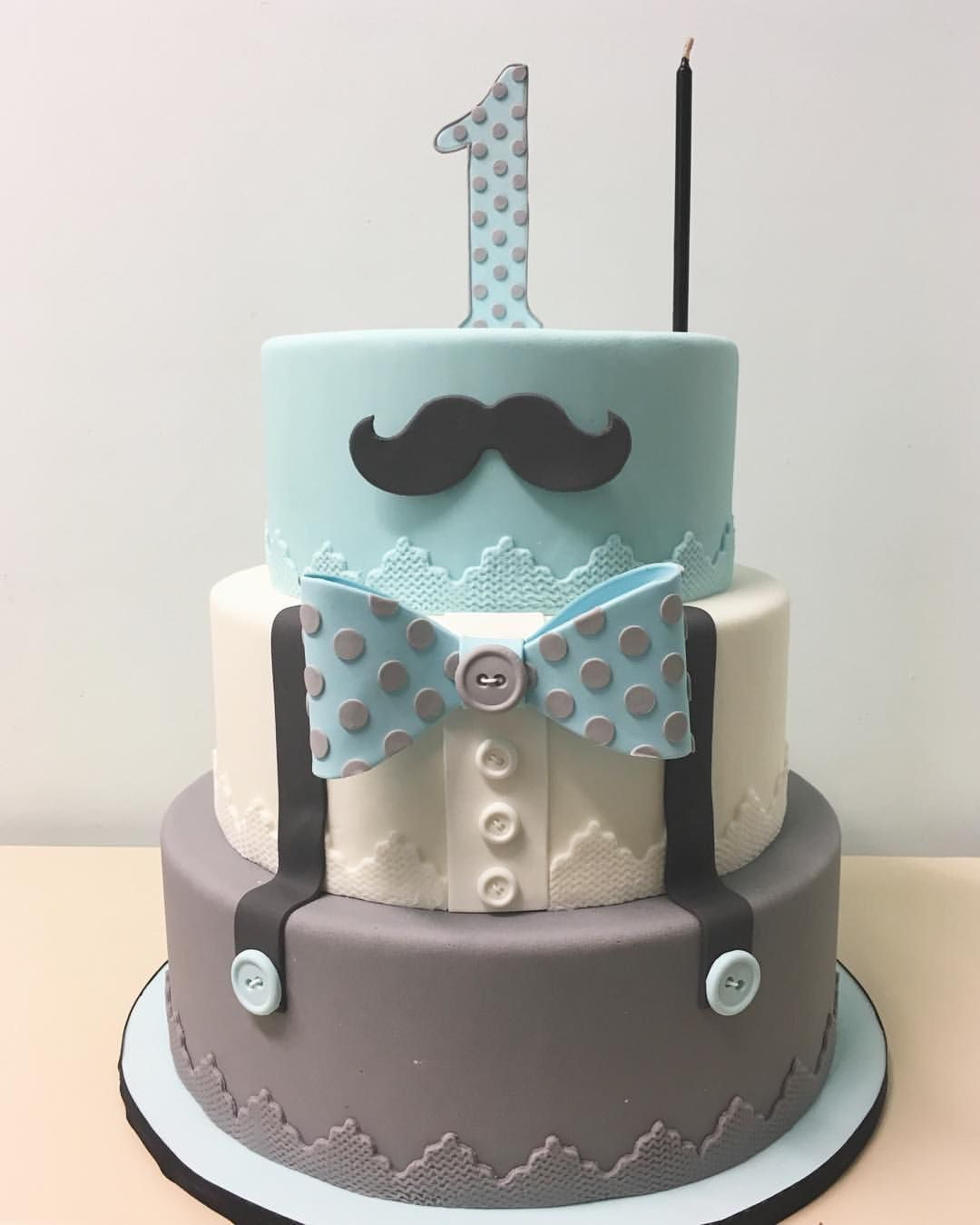Enjoyable Blue Gray Polka Dot Little Man Cake With Images Baby Birthday Cards Printable Trancafe Filternl