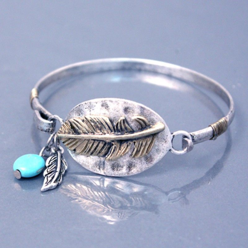 Antique Feather Bangle Bracelet