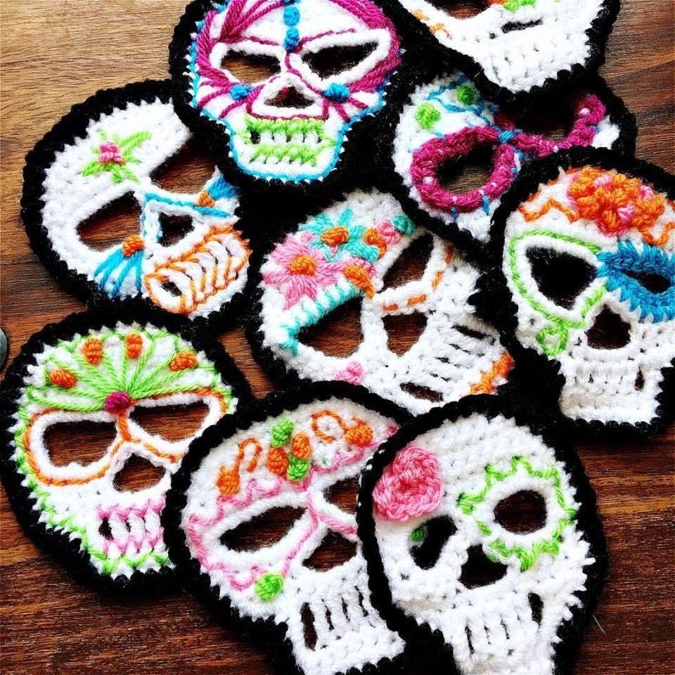 Halloween Events Portsmouth 2020 Crochet your Halloween   Sugar Skull Bunting | Crochet skull