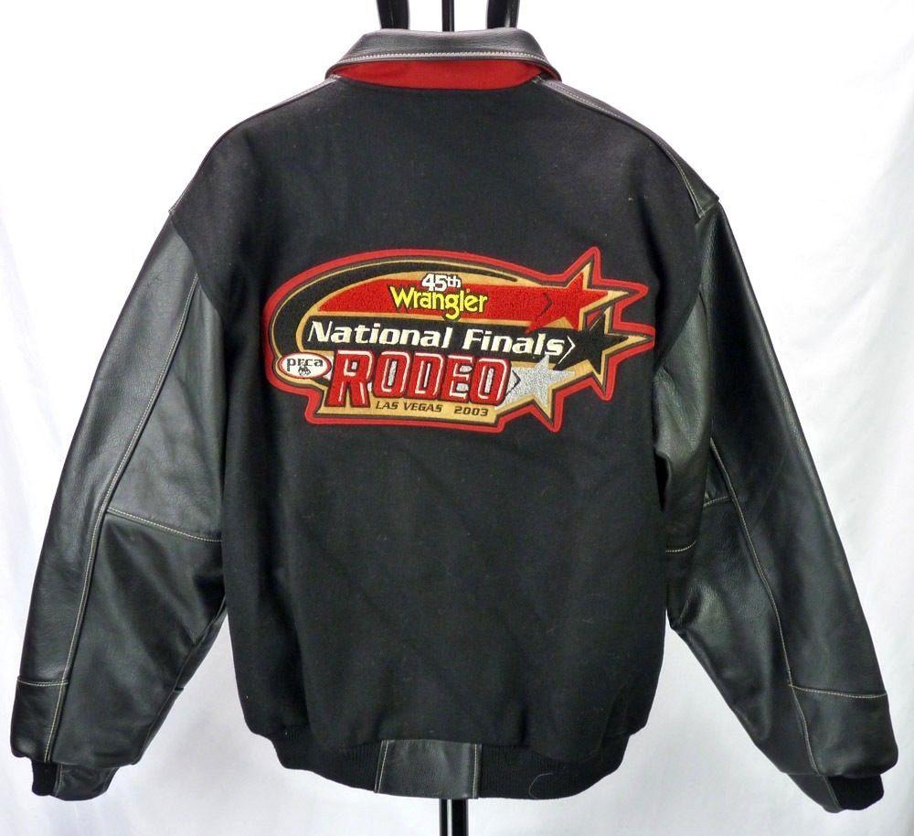 2003 Wrangler Prca Rodeo National Finals Leather Wool Coat Jacket Las Vegas L Wool Coat Coats Jackets Basic Jackets [ 914 x 1000 Pixel ]