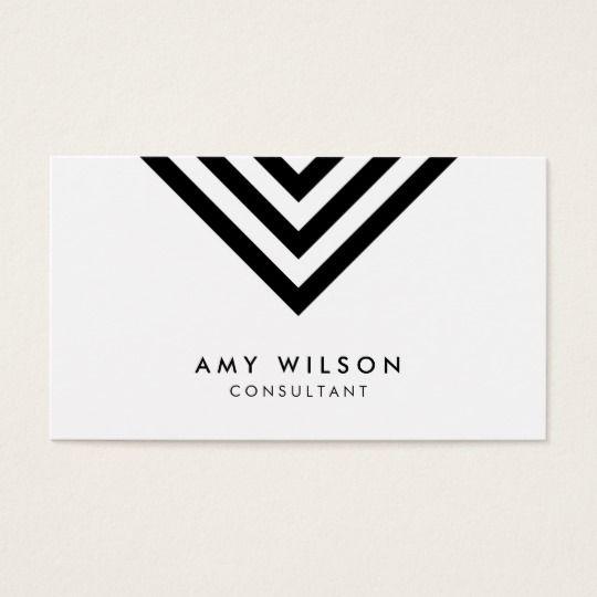 White minimalist black chevron geometric business card by rosewood white minimalist black chevron geometric business card reheart Gallery