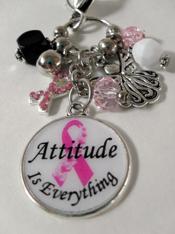 Breast Cancer changeable charm. Attitude is Everything, and on the opposite side it says Fight like a Girl. $12.00