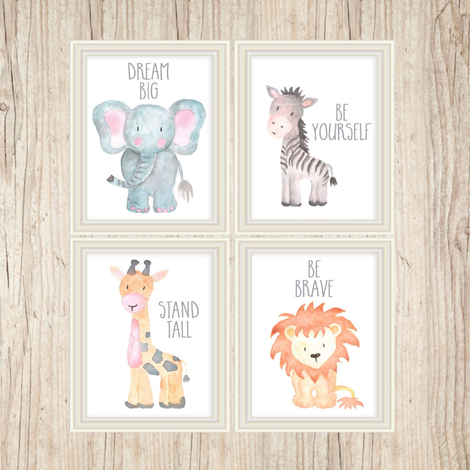 Nursery Art For Children Kids Wall Art Baby Girl Nursery Baby: Safari Nursery Art Animal Paintings Baby Animal Prints