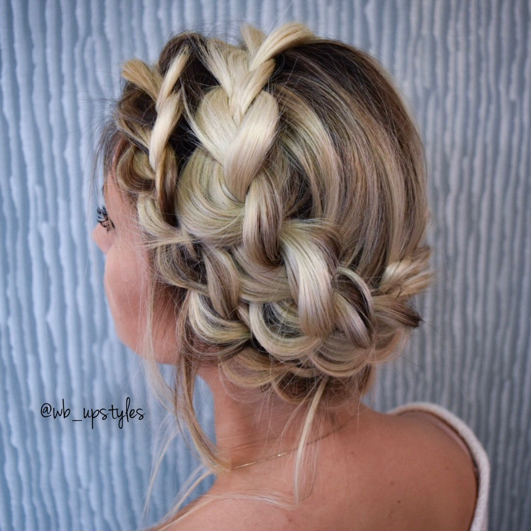 Crown Braid Halo Braided Hairstyle For Prom Or Bridal Updo