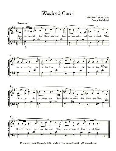 Christmas Carols Sheet Music.Wexford Carol Irish Traditional Christmas Carol Free