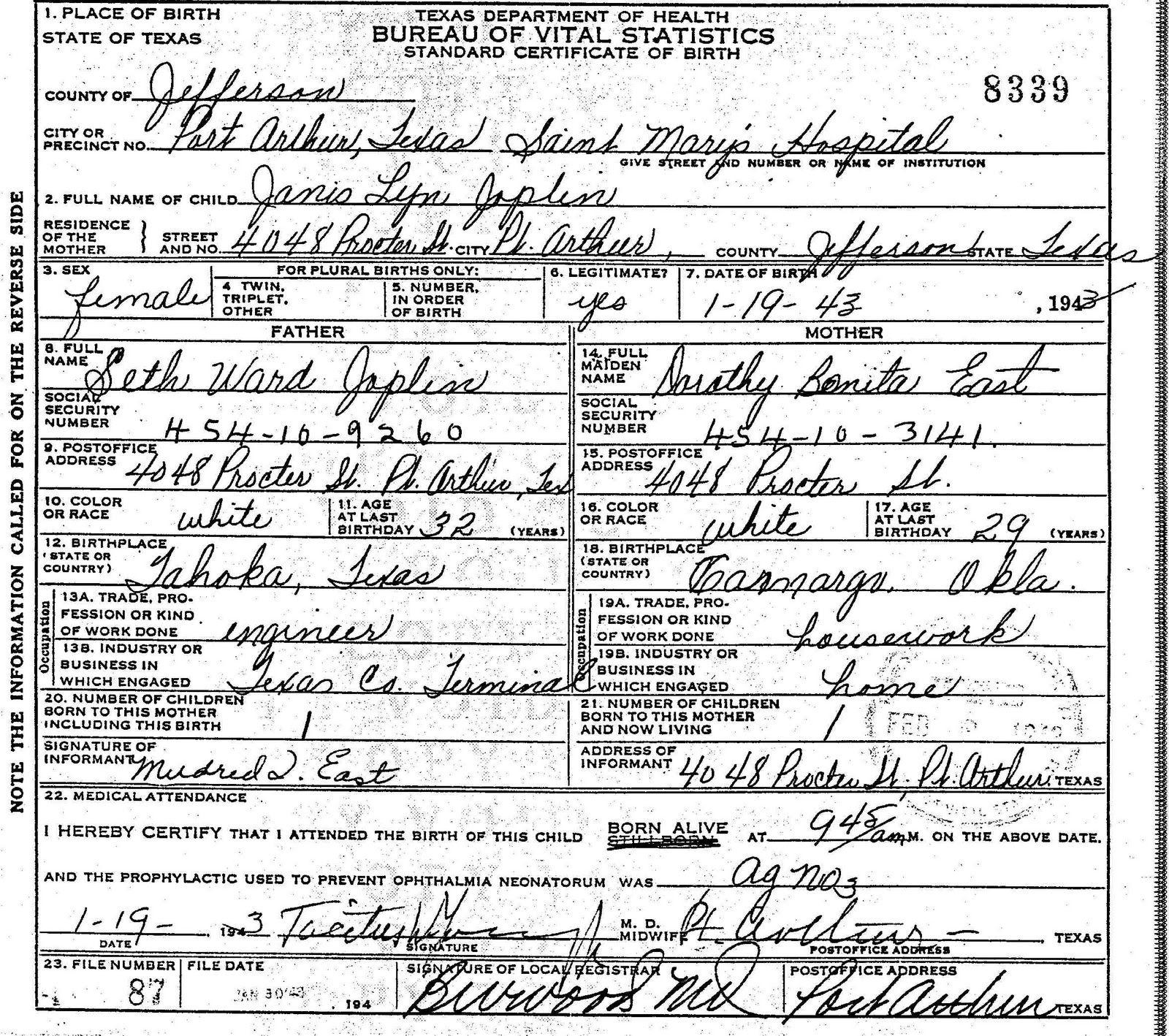 Birth Certificate Cuba Ii: Janis Joplin Birth Certificate
