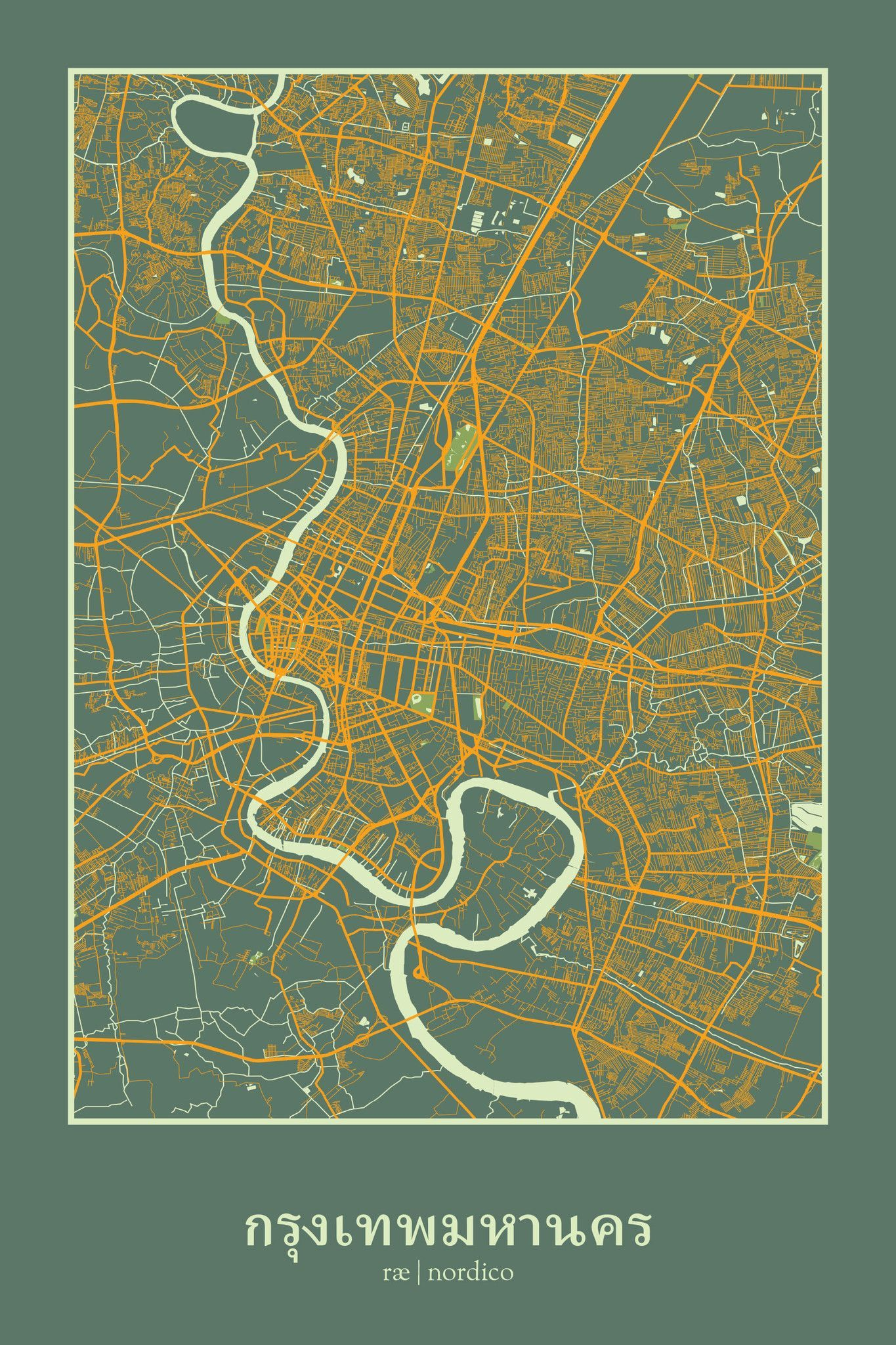 Bangkok thailand map print by rae nordico stylised city maps bangkok thailand map print by rae nordico stylised city maps bangkok the most visited city and the hottest malvernweather Image collections