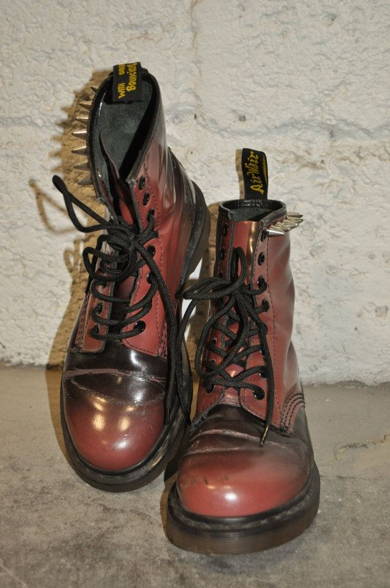 b31053443a2f NEW IN - Studded Vintage Rare Doc Martens Dr. Martens Boots Studs Red Ox  Blood Ombre Shine on Etsy, $85.38