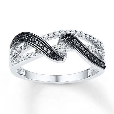 Artistry Diamonds Black Diamond Ring 1/4 ct tw Round-cut Sterling Silver XYs8UvD