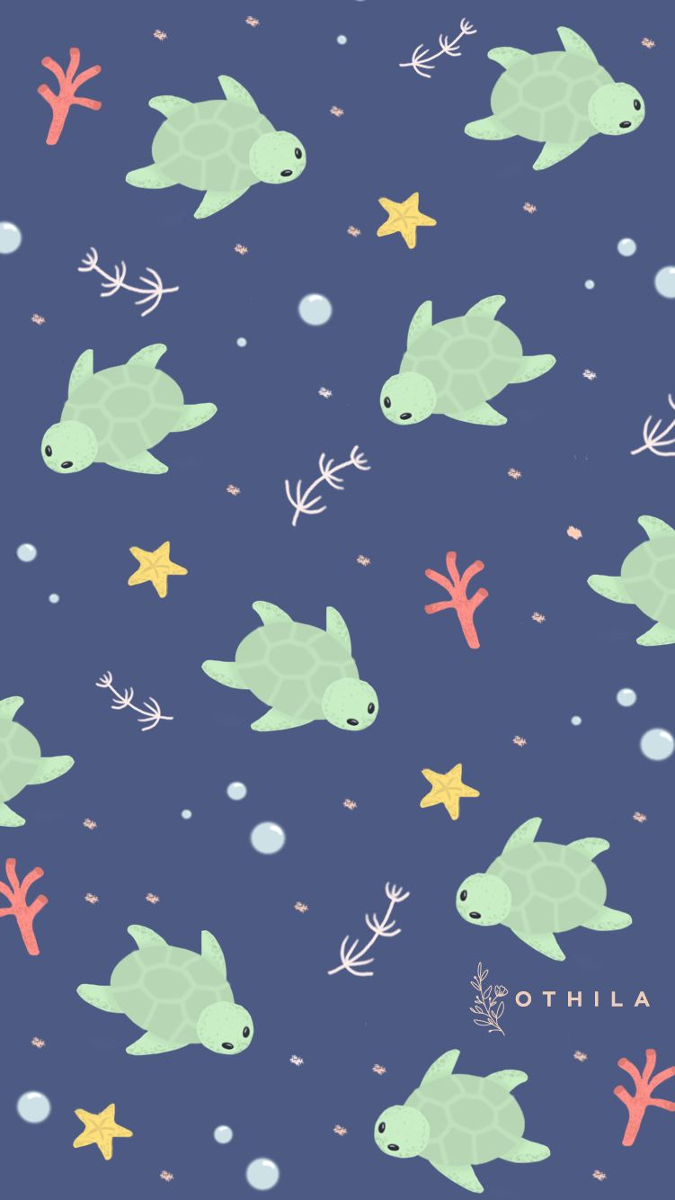 Turtle Starfish Blue Sea Ocean Wallpaper Blue Beautiful Nice Turtle Wallpaper Iphone Wallpaper Green Cute Patterns Wallpaper