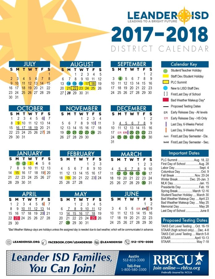 LISD's 2017 18 District Calendar | LISD | Pinterest
