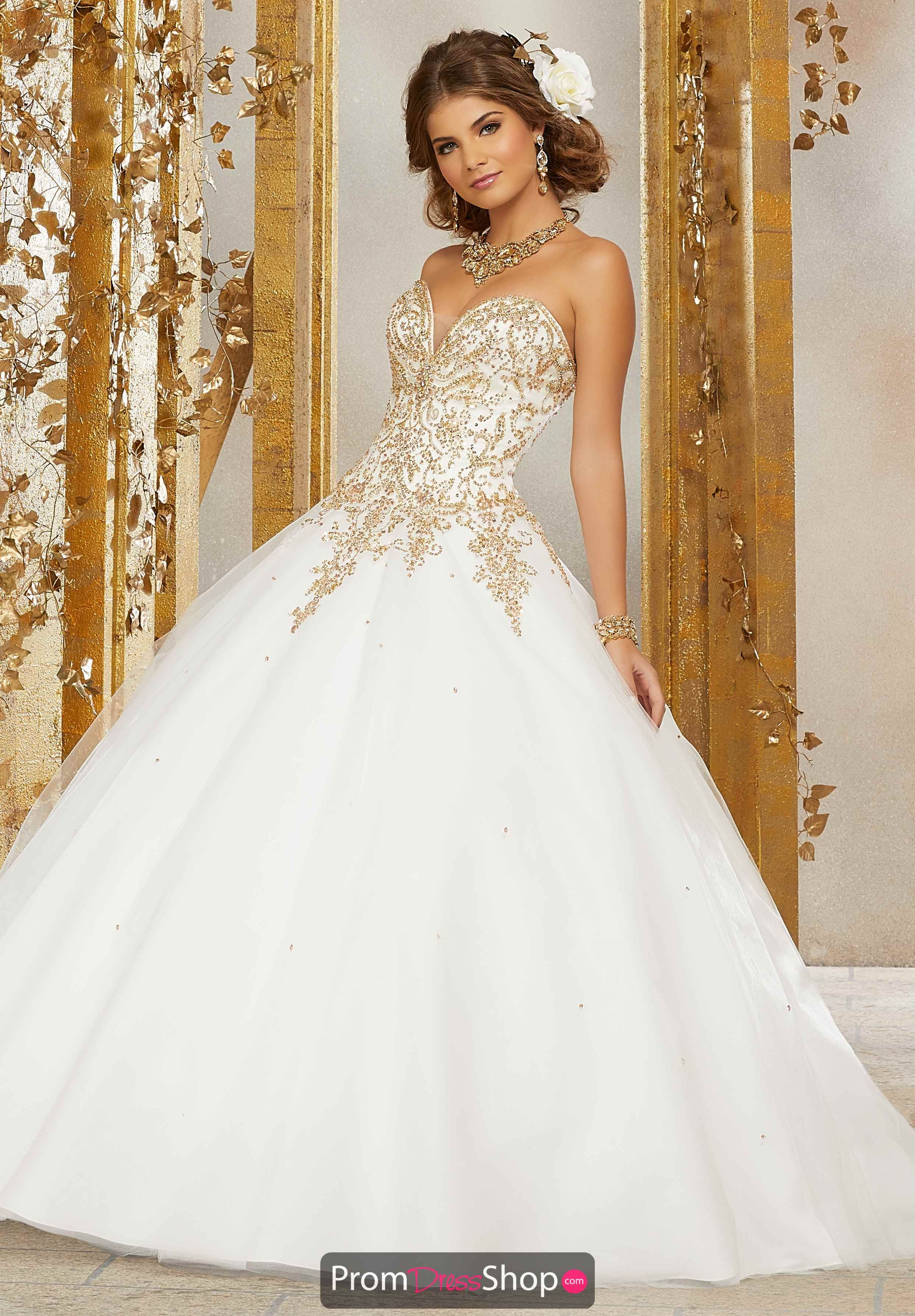 Ivory Gold White Quinceanera Dresses Quince Dresses Mori Lee Quinceanera Dresses [ 3573 x 2486 Pixel ]