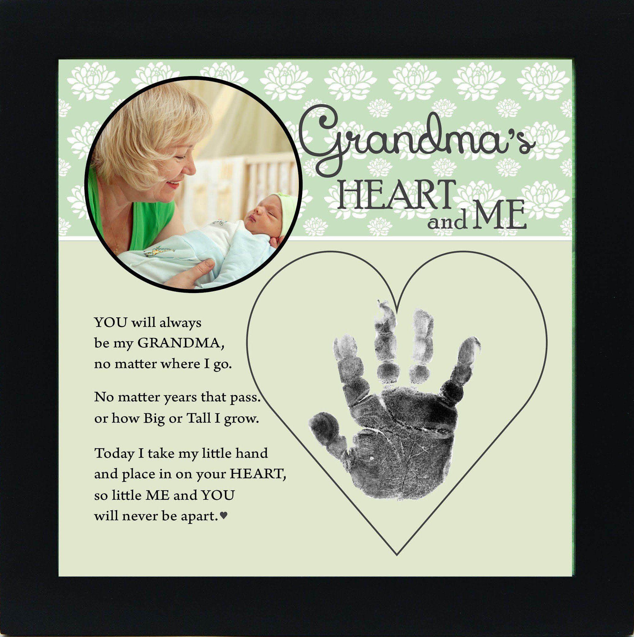 The Grandparent Gift Grandma Handprint Frame Grandmas Heart And Me Green Black Amazonca Baby