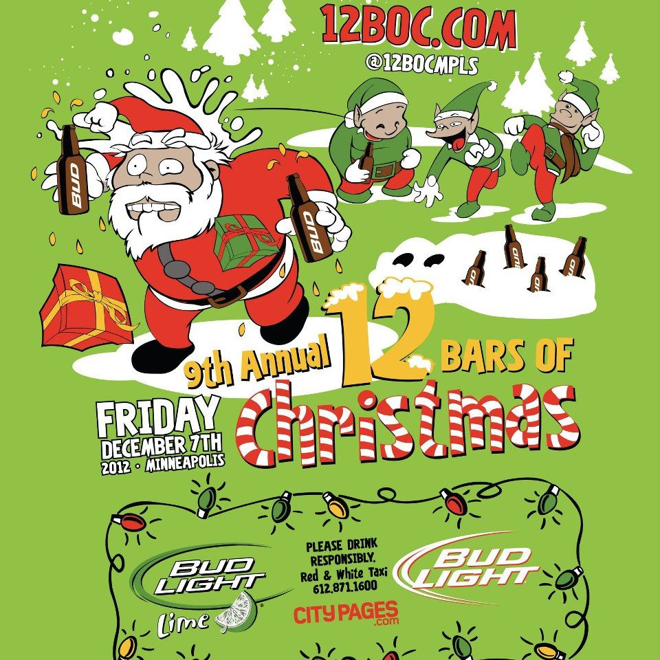 Join the 12 Foundation this year for the 7th Annual 12 Bars of Christmas on Friday, December 7th! As always, the plans include galavanting around downtown #Minneapolis, spreading some holiday cheer and probably having a cocktail or two....all in the name of do-gooding!
