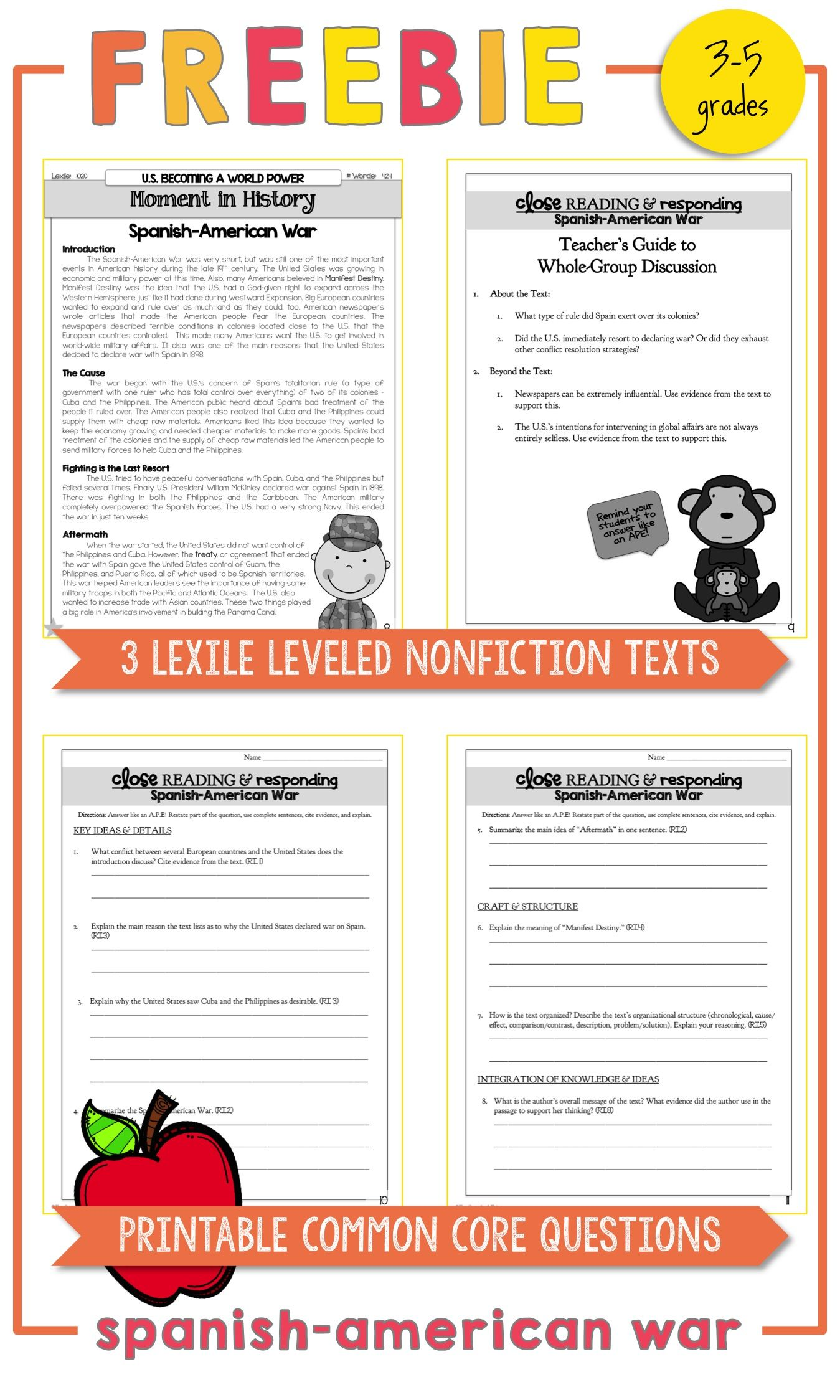 free spanish american war lexile leveled nonfiction texts printable rh pinterest com guided reading activity lesson 2 the spanish american war guided reading the spanish-american war chapter 10 section 2