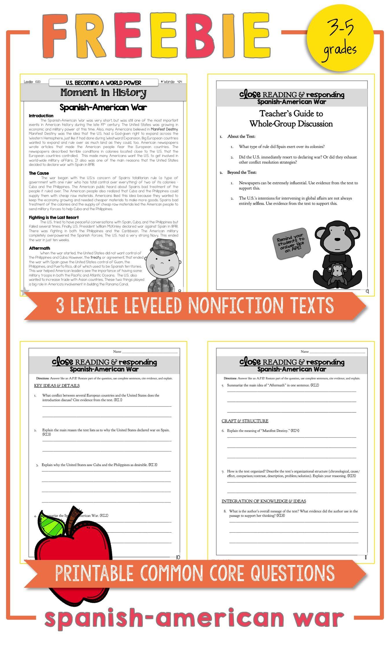 worksheet Spanish American War Worksheet free spanish american war lexile leveled nonfiction texts printable common core questions