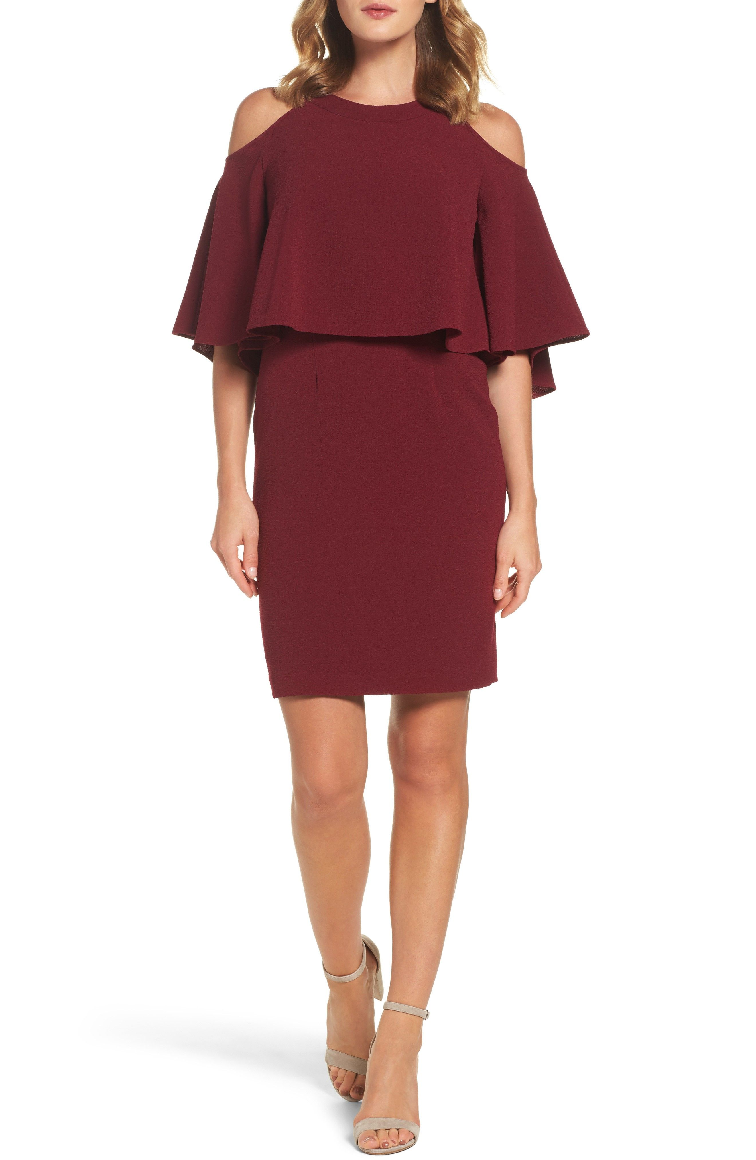 Burgundy red cold shoulder dress for a fall outdoor casual