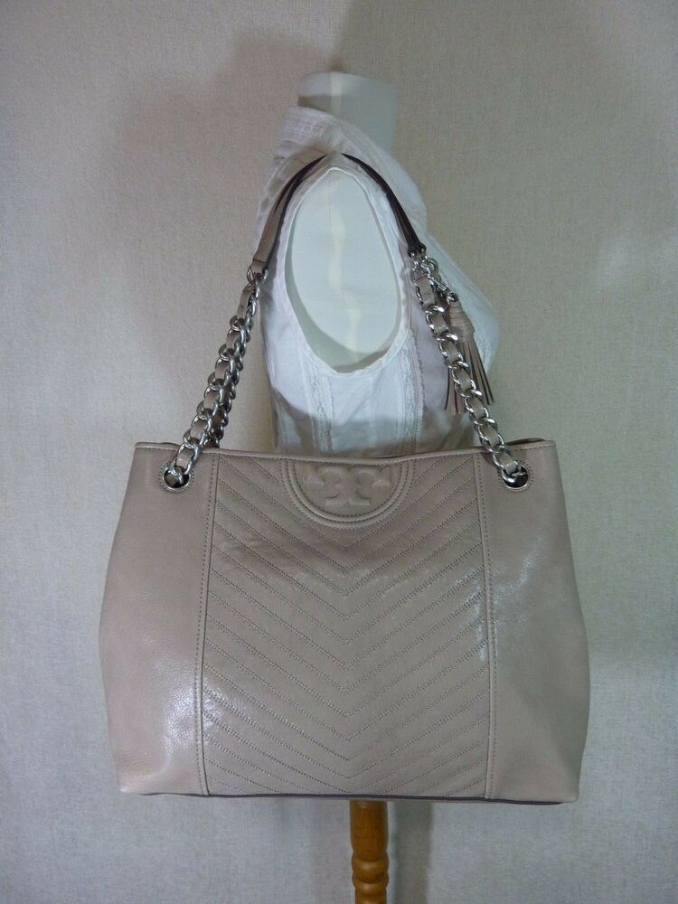 0ce042976 NWT Tory Burch Taupe Distressed Leather Fleming Tote $598 #ToryBurch  #TotesShoppers