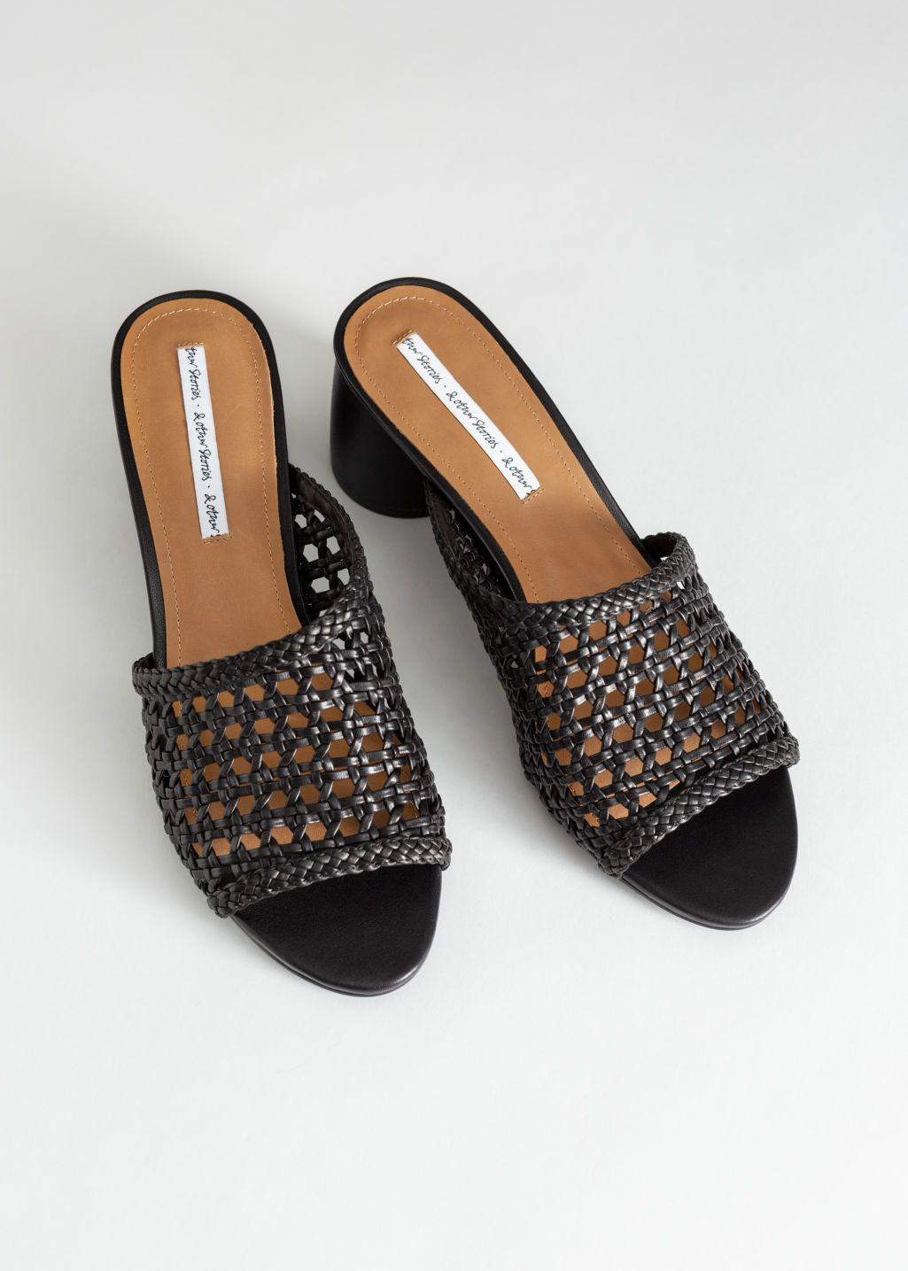 Woven Leather Heeled Sandals | Skor