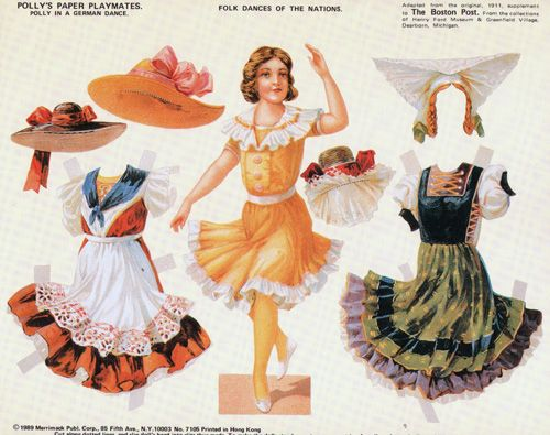 POLLY'S PAPER PLAYMATES PAPER DOLLS - National Dances - GERMANY - Origami Osos 1 OF 6